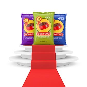 Hondenvoer tas pakketten ontwerp over ronde witte sokkel met stappen en een rode loper op een witte achtergrond. 3d-rendering
