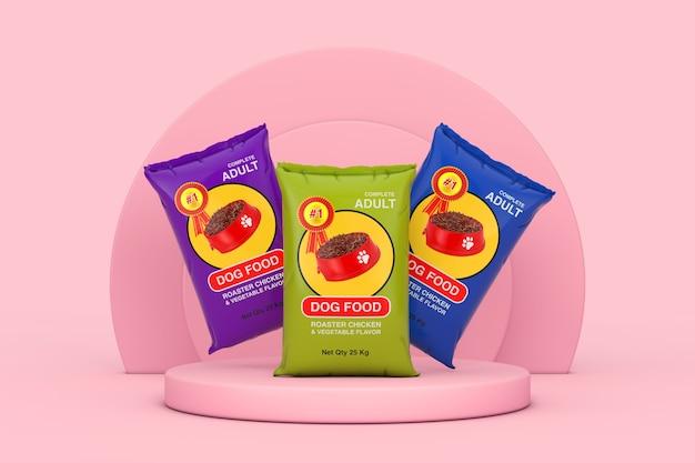 Hondenvoer tas pakketten ontwerp over roze cilinders producten podium voetstuk op een roze achtergrond. 3d-rendering