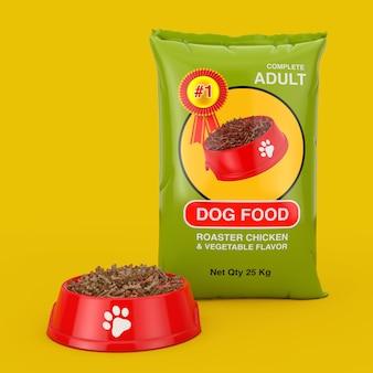 Hondenvoerzakpakketontwerp in de buurt van rode plastic kom met droogvoer voor honden op een gele achtergrond. 3d-rendering