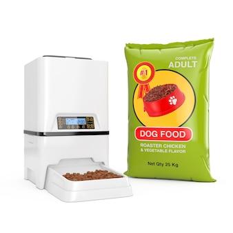 Hondenvoerzakpakketten designnear automatische elektronische digitale huisdier droogvoer opslag maaltijd feeder dispenser op een witte achtergrond. 3d-rendering