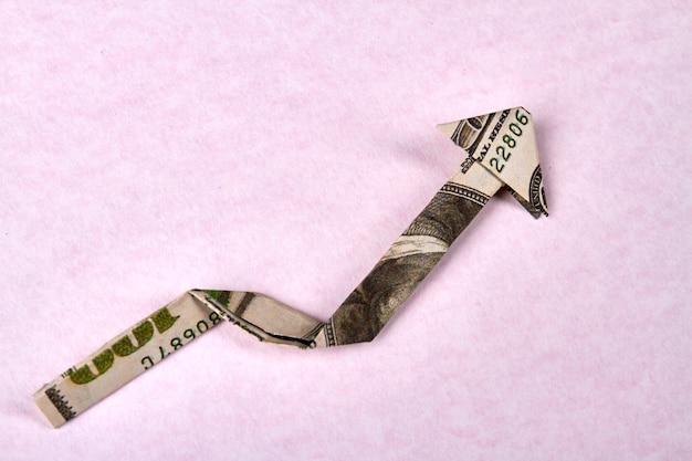 Honderd dollar bill origami pijl