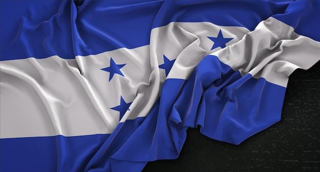 Honduras vlag gerimpeld op donkere achtergrond 3d render