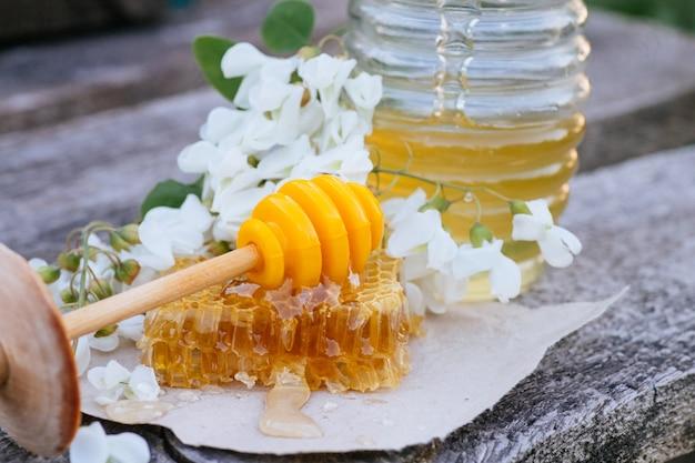 Honey stick ligt op een stuk afgesneden verse honing in honingraten.