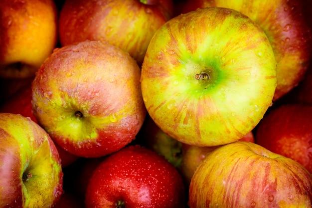 Honeycrisp-appels. bovenaanzicht. detailopname.