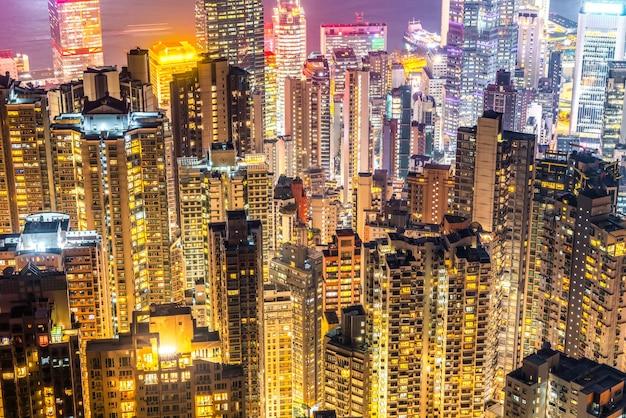 Hong kong architectonisch landschap skyline nacht uitzicht