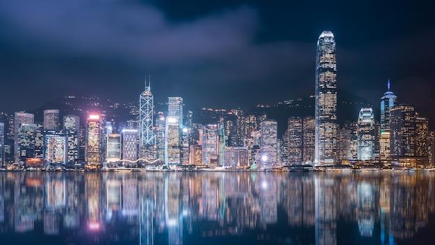 Hong kong architectural landscape skyline nacht uitzicht