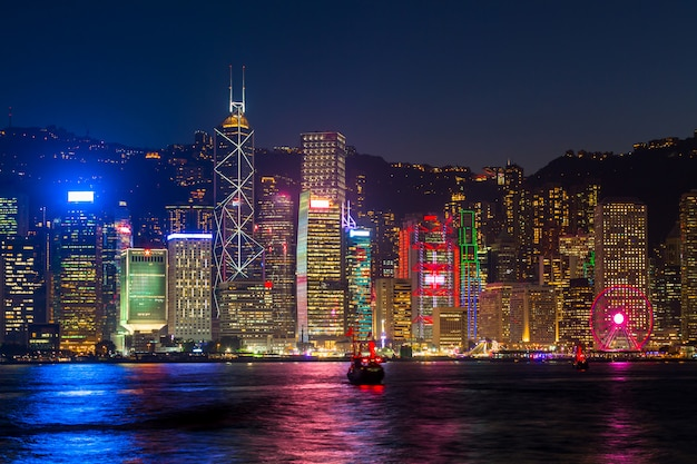Hong kong at night at victoria habour.