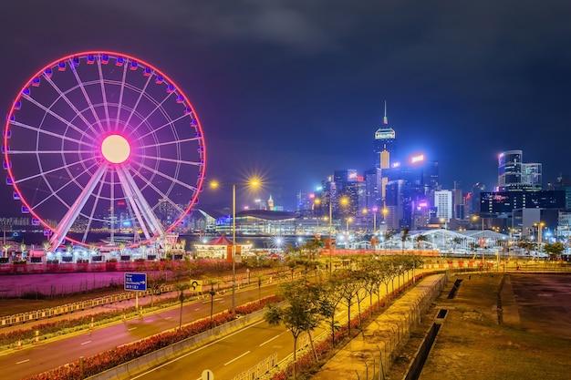 Hong kong observation wheel in central district van hong kong.