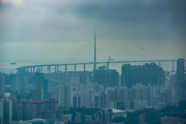 Hong kong victoria havenstad landschap, zakelijke binnenstad stedelijk met skyline gebouw toren, azië district scène van wolkenkrabber architectuur uitzicht om te reizen