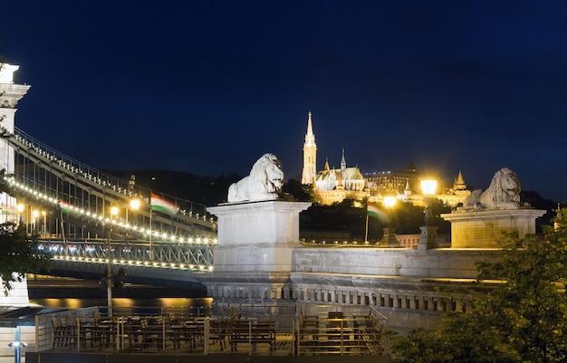 Hongaars oriëntatiepunt, de nachtmening van de kettingsbrug van boedapest. lange blootstelling.