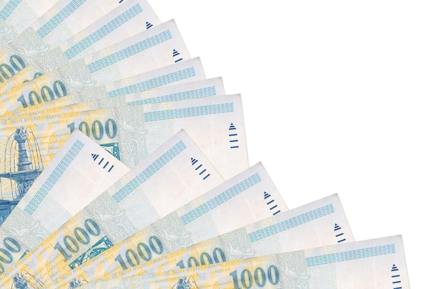 Hongaarse forintbiljetten liggen geïsoleerd