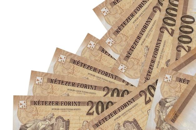 Hongaarse forintbiljetten liggen in verschillende geïsoleerde volgorde