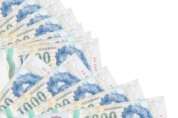 Hongaarse forintrekeningen die op wit oppervlak leggen