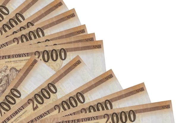 Hongaarse forintrekeningen liggen geïsoleerd op een witte achtergrond