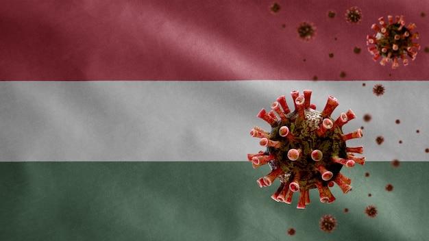 Hongaarse vlag wappert met uitbraak van coronavirus die het ademhalingssysteem infecteert als gevaarlijke griep