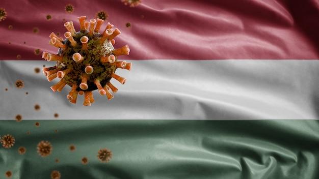 Hongaarse vlag zwaaien en coronavirus 2019 ncov-concept