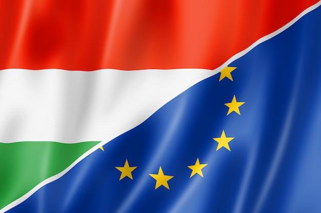 Hongarije en europa vlag