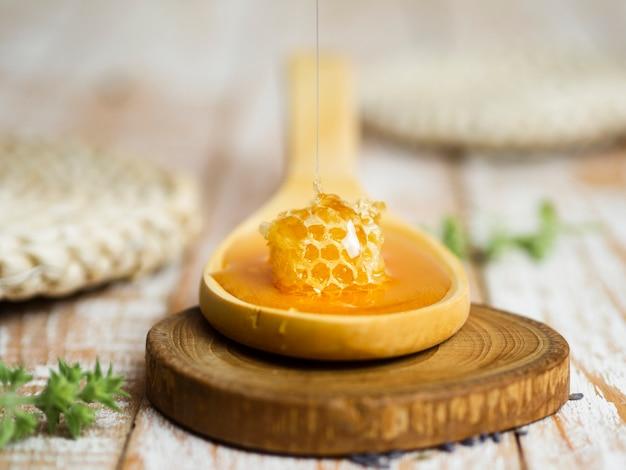 Honingraat op lepel vooraanzicht
