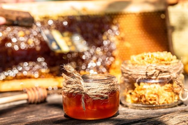 Honingsdipper op de achtergrond van de bijenhoningraat