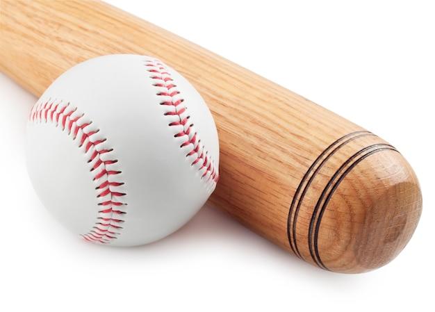 Honkbal en honkbalknuppel op witte achtergrond Premium Foto