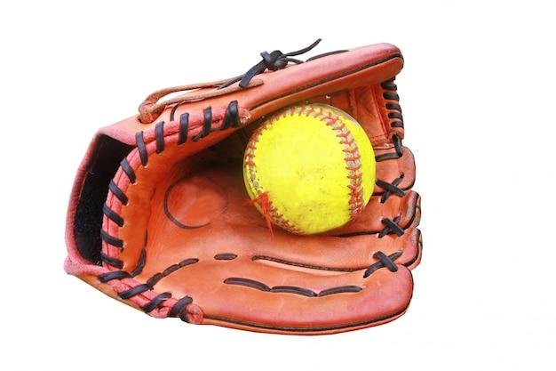 Honkbalhandschoen houdt een bal