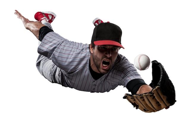 Honkbalspeler in rood uniform.
