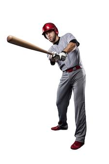 Honkbalspeler in rood uniform. Premium Foto