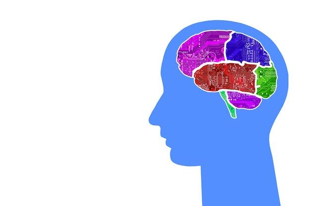 Hoofd met veelkleurige hersenen van chips op een kleurrijke achtergrond