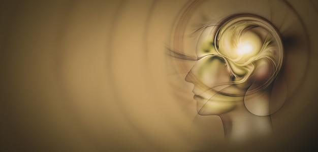 Hoofd silhouet met een fractal hersenen concept afbeelding creatief denken concept ontwerp ideeën concept van...