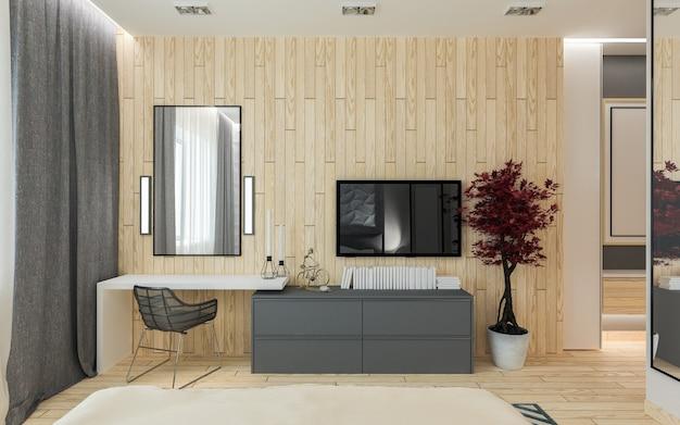 Hoofdslaapkamer met kleedkamer 3d panelen in een moderne stijl