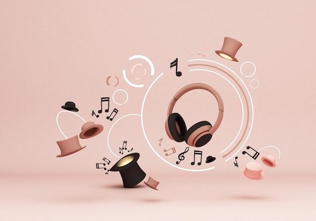 Hoofdtelefoon met muzieknoten en hoeden op roze