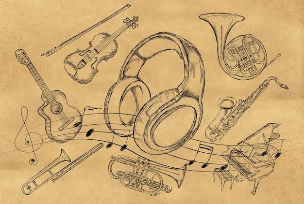 Hoofdtelefoon schets muziekinstrumenten op bruin papier