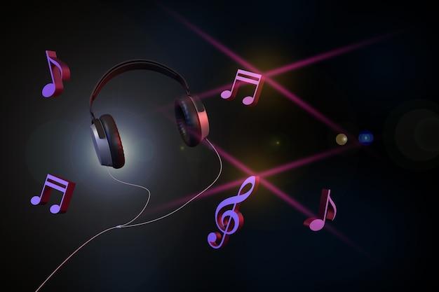Hoofdtelefoons en muzieknota's op donkere achtergrond.