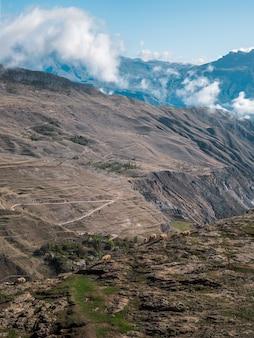Hoog in de bergen graast een kudde schapen. hooggelegen landschap met wolken boven de bergen. verticale weergave.
