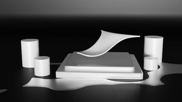 Hoog laag abstract zwart-wit 3d-rendering podium voor beurs