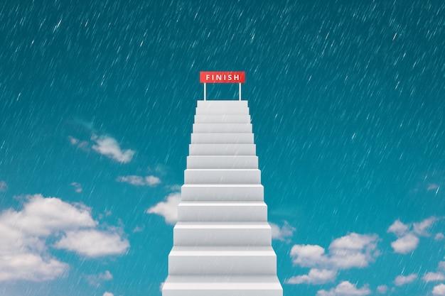 Hoog van trap en finishlijn op tophemelachtergrond met regenend concurrentieconcept.