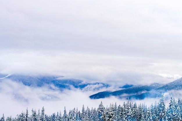 Hooglanden in de winter zijn gehuld in sneeuw.