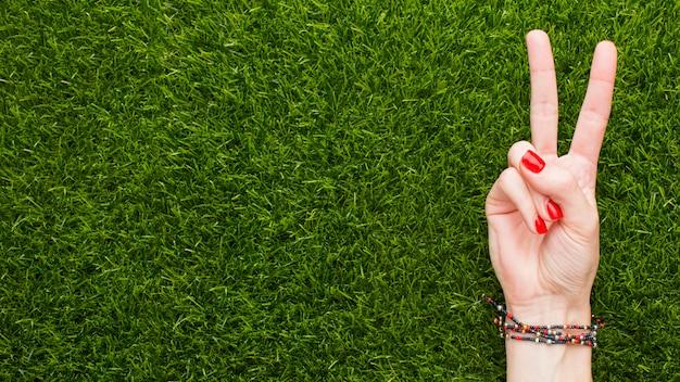 Hoogste mening die van hand vredesteken op gras met exemplaarruimte maakt