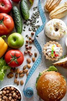 Hoogste mening van gezond versus ongezond concept
