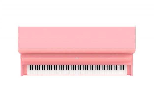 Hoogste mening van klassieke muzikale instrumenten roze piano die op witte achtergrond wordt geïsoleerd