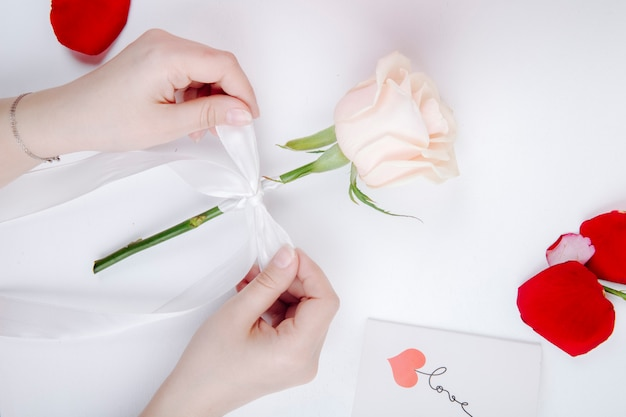 Hoogste mening van vrouwelijke handen die een witte lintboog op een roze bloem binden bij witte achtergrond