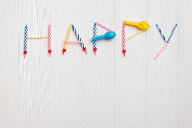 Hoogste meningswoord dat door ballons en kaarsen wordt gemaakt