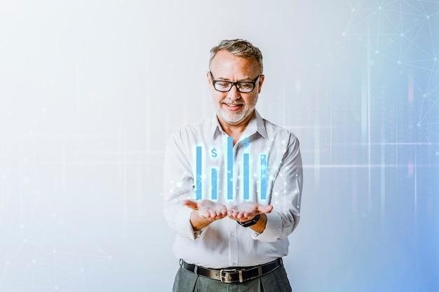 Hoogtechnologische grafiekpresentatie met zakenmanhandoverlay