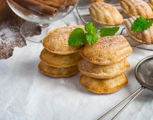 Hoogtepunt van de koekjes van madeleine, poedersuiker en kaneel