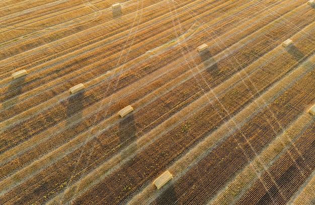 Hooibergen op een geoogst veld - bovenaanzicht