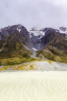 Hooker lake southern alps nieuw-zeeland