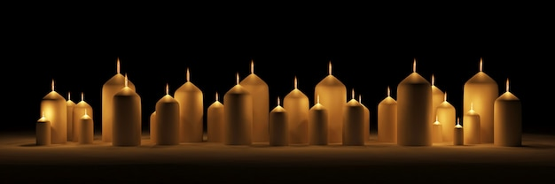 Hoop brandende kaarsen op donkere achtergrond