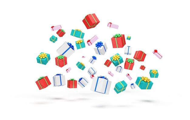 Hoop kleur geschenkdozen drijvend op witte achtergrond