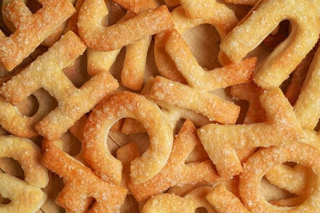Hoop letters gemaakt met koekje of koekje. kan als achtergrond worden gebruikt