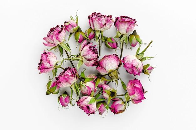 Hoop van gedroogde roze rozen op wit. plat liggen